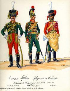 Ufficiale, sottufficiale e zappatore del rgt. cavalleggeri della guardia del regno di Westfalia