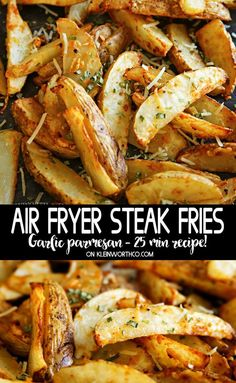 Air Fryer Steak Fries are loaded with garlic & parmesan cheese. This quick & easy recipe is ready in just 25 minutes. Perfect for game day, race day or as a bbq side dish. via Recipes snacks Air Fryer Steak Fries Air Fryer Recipes Potatoes, Air Fryer Dinner Recipes, Air Fryer Oven Recipes, Air Fry Potatoes, Air Fryer Recipes Vegetables, Air Fryer Baked Potato, Recipes Dinner, Deep Fryer Recipes, Veggies
