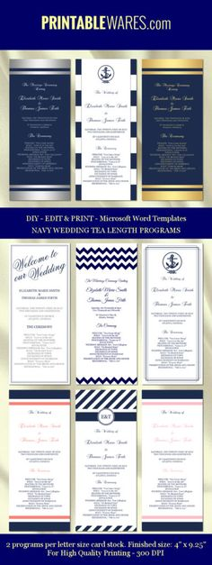 Diy Printable Wedding Program Templates Navy