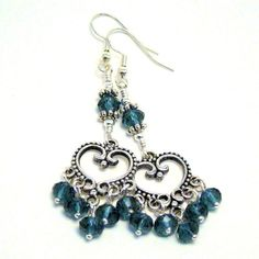 Dark Blue Crystal and Antiqued Silver Heart Chandelier Dangle Earrings | crescent-moon-creations - Jewelry on ArtFire