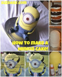 How to Make a Minion Cake!!!  Complete tutorial on how to make a Minion cake for a birthday!  Very simple!
