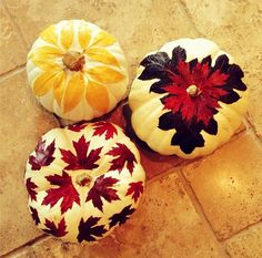 Pin for Later: 32 Pumpkin-Decorating Ideas That Are Actually Doable! The Leafy Look Decoupage leaves onto white pumpkins for a new take on decorating!