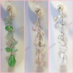 CLIP ON Gemstone/Quartz Chip Glass Crystal Dangle Non-Pierced Earrings 1 Pair #Unbranded #Clip