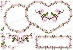 Cherry Blossom Vector, Scrapbook Borders, Frame Template, Heart Frame, Borders And Frames, Vector Clipart, Floral Border, Designs To Draw, Flower Decorations