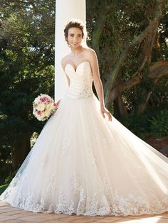 BallGown Sweetheart Tulle Satin Chapel Train White Appliques Wedding Dresses at Millybridal.com