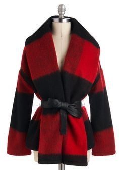 Around the Embers Coat by BB Dakota - Mid-length, 3, Red, Black, Long Sleeve, Fall, Belted, Casual, Rustic