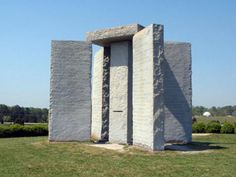 The Georgia Guidestones  a large granite monument in Elbert County, Georgia, is made from six granite slabs. built in 1979 engraved with ten guidelines in eight modern languages + four ancient languages, that advise people to live in harmony with humanity and nature. The four outer stones are oriented to the Sun's yearly migration and each side of the tablet is perpendicular to one of the cardinal directions.