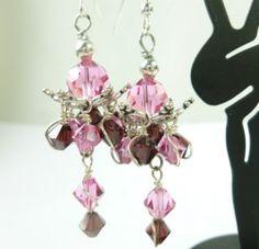 Rose and Burgundy Bead Cap Chandelier Earrings