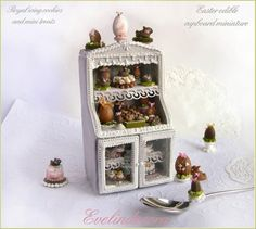 Easter cookie. Edible royal icing miniature food on cookie cupboard - by Evelindecora