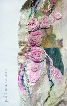 Close up of Delicate Nuno Felted Rose Scarf Felt Fabric, Fabric Art, Nuno Felt Scarf, Felted Scarf, Fabric Manipulation Techniques, Wooly Bully, Creative Textiles, Needle Felting Tutorials, Wool Art