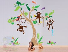 THE ORIGINAL Nursery Kids Removable Wall Vinyl Decal Children Wall Decals - Jungle Gym Playroom with Monkey Tree and Parrot.