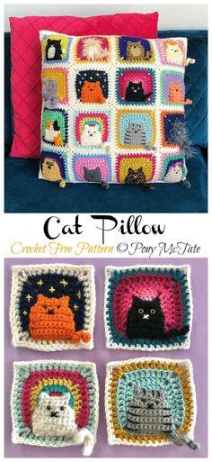 Crochet Diy, Chat Crochet, Crochet Mignon, Crochet Crafts, Yarn Crafts, Crochet Home, All Free Crochet, Free Crochet Square, Crochet Ideas