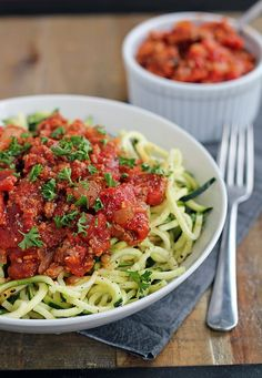 Zucchini Spaghetti with Beef Bolognese from In Sonnet's Kitchen