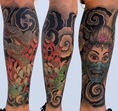 Fully healed leg piece! #leg #tattoo #snake #geisha #color #inked by dhtphtg1 https://www.instagram.com/p/BD88uRbPgP2/