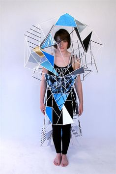 Morrisons Academy [whoa cool, thinking of Yoo Lim and Carissa! Geometric Fashion, 3d Fashion, Weird Fashion, Fashion Design, A Level Textiles, Sculpture Projects, Body Adornment, Recycled Fashion, Higher Design