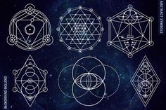 100 Sacred Geometry Symbols - Illustrations