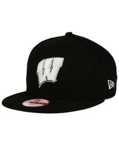 New Era Wisconsin Badgers Black White 9FIFTY Snapback Cap - Black Adjustable