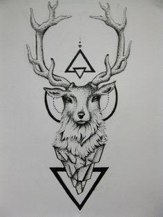Geometric Triangles And Deer Head Tattoo Design