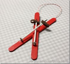 Make an easy popsicle stick ski ornament for the favorite skier in your life. This is great for the tree or as a package topper. Easy Christmas Ornaments, Christmas Crafts For Kids To Make, Homemade Christmas, Simple Christmas, Christmas Diy, Diy Ornaments, Christmas Sewing, Christmas Balls, Xmas
