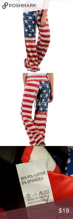 American Flag Print Yoga Pants Size Large NWT, the American flag print on these long pants are great!  Red, white & blue is always the best colors! fancycube Pants Track Pants & Joggers