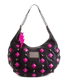 Betsey Johnson bag - LOVE this black and hot pink color combo! And the pink lightning charm adds an awesome finishing touch!