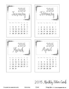 Free 2015 Monthly Project Life Calendar Cards   from Vintage Glam Studio {all months available}