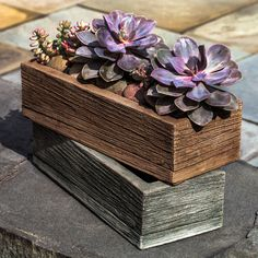 Campania International 14 in. Barn Board Cast Stone Planter - Perfectly rustic, the Campania International 14 in. Barn Board Cast Stone Planter looks as though it was built of boards pulled from a heritage ba...