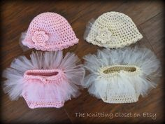 Crochet Diaper Cover and Hat Pattern  ♥ This is an adorable newborn photo prop!  ♥ This tutu baby set charms everyone. It is a perfect shower or newborn baby gift.   ♥ This easy to follow pattern works up very quickly using worsted weight yarn held double for a cute bulky look.   ♥ Pattern includes sizes for a Newborn and 0-3 months. The pattern is written in American Standard Terms using basic crochet stitches ♥ Pattern by Deborah O'Leary Patterns
