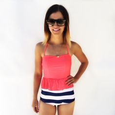 Monokinisuits.com | High Waisted Peplum Tankini Neon Pink/Navy & White Stripes