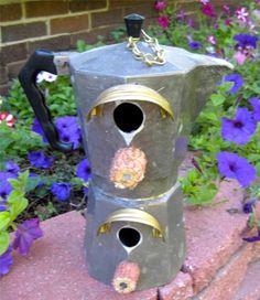 Handcrafted Birdhouse Vintage Coffee Pot Double Decker Shabby Cottage Yard Art | eBay