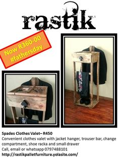 Perfect gift for #fathersday! Was R450 now only R360 Clothes #valet made from #pallets with jacket hanger, trouser bar, small drawer, shoe rack and coin compartment