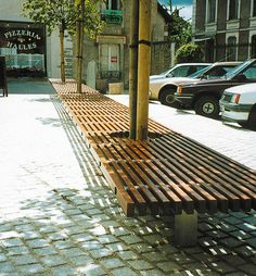 Contemporary public bench in wood and metal OCÉAN Concept Urbain