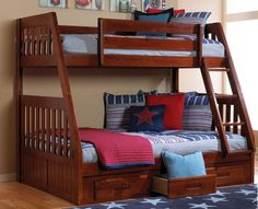 Get the most out of your space with our Twin over Full Bunk Bed with a fixed ladder. Our bunk beds feature solid pinewood construction in an attractive merlot finish. Materials: Sturdy solid Pinewood