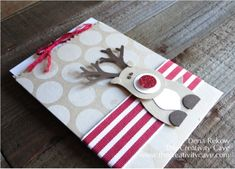 """Ridiculously Cute Reindeer made with Stampin Up Punches - SU - by Dena Rekow - visit for """"how to"""" video"""