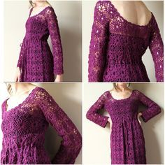 60s Sweater Maxi Dress - vintage Plum Purple boho crocheted hippie evening gown, sheer floral hand crochet lace, Princess bride party frock. $125.00, via Etsy.