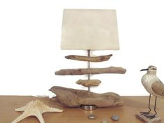 lampe en bois flotté - abat-jour rectangle lin -  modèle unique