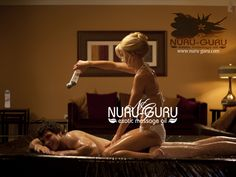 Gently position the recipient on his stomach while you sit back on your thighs at his side. With a gentle pressure, apply the Nuru gel all over your lover's back, bottom, and calves. Spread the gel evenly as your hands travel up and down his back, your palms pressing on areas such as his lower neck and lower back.  Now apply the Nuru gel all over your body as well. Cover your chest, your abdomen, and your thighs with the gel to prepare you for the next technique.