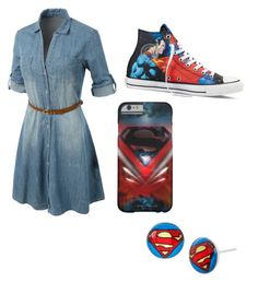 """Superman"" by sh-armacost ❤ liked on Polyvore featuring LE3NO and Converse"