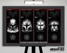 Clone Commander Wolffe Helmets Leader of the Legion Clone Trooper Helmet, Star Wars Helmet, Star Wars Clone Wars, Star Wars Art, Star Trek, Images Star Wars, Star Wars Pictures, 3d Prints, Fine Art Prints
