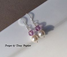 Pearl Bridal Earrings Sterling Silver by DesignsbyTBrigham on Etsy, $18.00