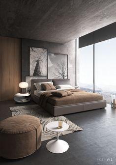 Polyviz Br bedroom on Behance Modern Master Bedroom, Modern Bedroom Design, Master Bedroom Design, Bed Design, Home Bedroom, Bedroom Decor, House Design, Bedroom Ideas, Bedroom Designs