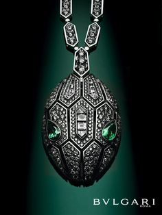 serpenti seduttori white gold necklace with mesmerizing emerald eyes