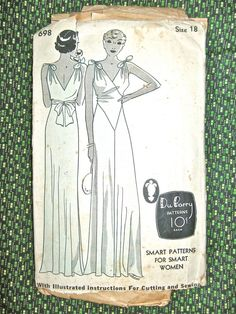 1930s gown pattern by Du Barry  698.   Bust 36 and Hip 39 inches