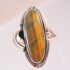 $29.00 Vintage Mexican Tiger's Eye Sterling Silver Signed GF15 Unisex Size 10 Jewelry Jewellery by BrightEyesTreasures on Etsy