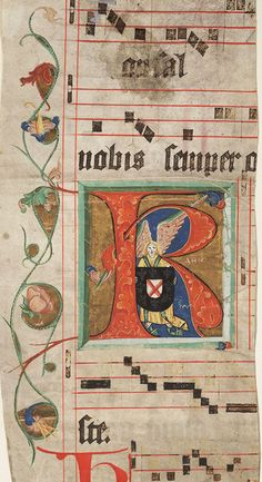 Choir book, Initial R with an angel holding a coat of arms. Germany. This leaf has been dated to the 1470s.