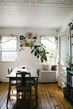 Pressed tin ceiling and rustic wood floors - hallway?