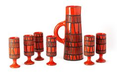 Ceramic orangeade set by Roger Capron for Capron Vallauris. Consists of 7 pieces. Roger Capron, The Golden Years, Font Styles, Tapestry Weaving, Vintage Design, Hand Dyed Yarn, Service, Ceramic Pottery, Decoration