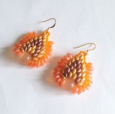 Orange copper and gold Dragon earrings with long magatama by La pietra blu di Avalon