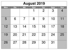 August Kalender Akademisch 2019 Kalender August, Pdf, Words, Horse
