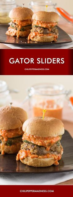Alligator Sausage Sliders with Roasted Red Pepper Remoulade Jalapeno Recipes, Cajun Recipes, Meat Recipes, Seafood Recipes, Food Processor Recipes, Cooking Recipes, Game Recipes, Cajun Food, Hamburger Recipes